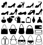 Set of flat woman accessories isolated on white Royalty Free Stock Photography