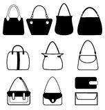 Set of flat woman bags isolated on white Stock Photo
