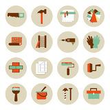 Set of flat working tools icons. Repair their own Stock Photo
