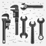 Set of flat wrench icon. Vector illustration. Royalty Free Stock Images