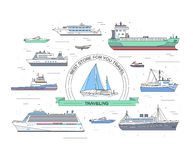 Set of flat yacht, scooter, boat, cargo ship, steamship, ferry, fishing boat, tug, bulk carrier, vessel, pleasure boat Stock Photos
