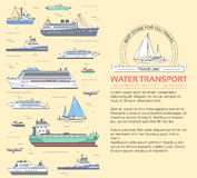 Set of flat yacht, scooter, boat, cargo ship, steamship, ferry, fishing boat, tug, bulk carrier, vessel, pleasure boat Royalty Free Stock Photography