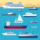 Set of flat yacht, scooter, boat, cargo ship Stock Images