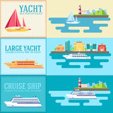 Set of flat yacht, scooter, boat, cargo ship Stock Photo