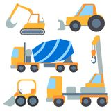 Set flet cars, tractor carrier, concrete mixer Royalty Free Stock Image