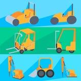 Set flet construction machinery. Roller-stacker Stock Image