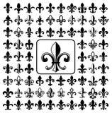 Set of Fleurs-de-lis icons. Royalty Free Stock Photos