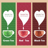 Set fliers with watercolour cup of tea Royalty Free Stock Photo