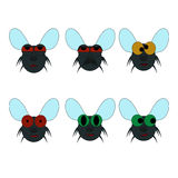 Set of flies. Isolated abstract icons Stock Images