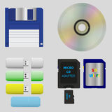 Set of floppy disk, CD, flash cards. Devices from different generations for storing and transferring information Stock Photo