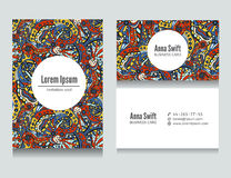 Set of flora colored abstract business cards design Stock Photo