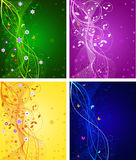 Set of floral abstract backgrounds  Royalty Free Stock Photos