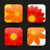 Set of floral app icons Stock Photos