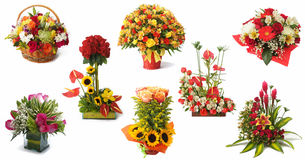 Set of 8 floral arrangement with red roses and colorful flowers royalty free stock images