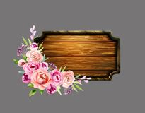 Set of the floral arrangements. On wooden board. Vector illustration Royalty Free Stock Photography