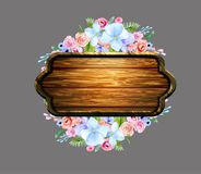 Set of the floral arrangements. On wooden board. Vector illustration Royalty Free Stock Image