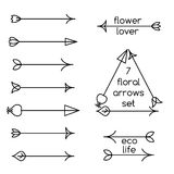 Set of floral arrows line art and logo examples Royalty Free Stock Image