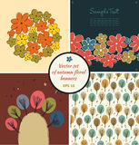 Set of floral autumn banners. Cute collection of doodle templates Stock Photos