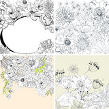 Set of floral background. Universal template for greeting card, web page, background Royalty Free Stock Image
