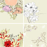 Set of floral background. Universal template for greeting card, web page, background Royalty Free Stock Photo