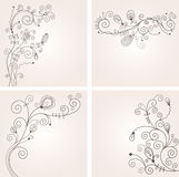 Set of floral backgrounds. Greeting card Stock Photo