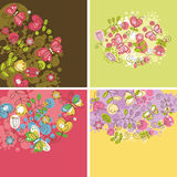 Set of floral backgrounds. Greeting cards Royalty Free Stock Photos