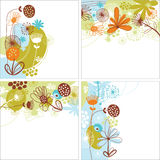 Set of floral backgrounds. Set of floral illustration on white background Royalty Free Stock Photo