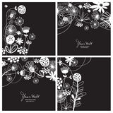 Set of floral backgrounds. Set of black-and-white floral backgrounds Stock Photo