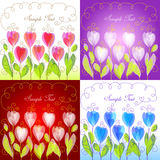 Set of floral backgrounds. Set of 4 floral backgrounds Stock Photos