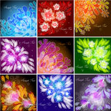 Set of floral backgrounds. Set of 9 floral backgrounds Royalty Free Stock Image