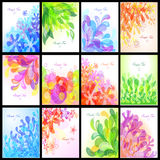 Set of floral backgrounds. Set of 12 floral backgrounds Royalty Free Stock Images