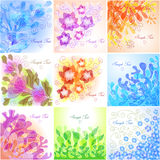 Set of floral backgrounds. Set of 9 floral backgrounds Royalty Free Illustration