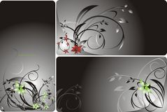 Set of floral backgrounds for card Stock Photos