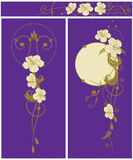 Set of floral backgrounds with hibiscus. Set of the floral banners with flowers of hibiscus stock illustration