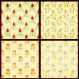 Set of floral backgrounds with paper texture Stock Image