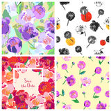 Set of floral backgrounds. Seamless floral pattern. Vector. Set of floral backgrounds. Seamless floral pattern with yellow, red, pink hand drawn flowers. Spring stock illustration