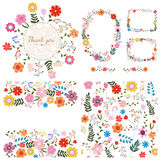 Set of floral backgrounds. Spring and summer flowers. Vector. Set of floral backgrounds. Frames for your design and seamless floral pattern. Spring and summer stock illustration