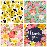 Set of floral backgrounds. Vector illustration. Set of floral backgrounds. Seamless floral pattern with yellow, red, pink hand drawn flowers. Thank you vector illustration