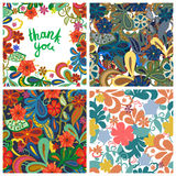 Set of floral backgrounds. Vector illustration. Set of floral backgrounds. Seamless floral pattern with yellow, red, pink hand drawn flowers. Thank you royalty free illustration