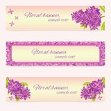 Set of Floral Banner Templates with Lilac Flower. Vector floral banner templates with lilac flower and place for text. Perfect for invitation, greeting cards Stock Photography