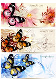 Set of floral banners with butterflies Stock Photos