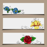 Set of floral banners Stock Photography