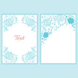 Set of floral blue cards in vintage style. Royalty Free Stock Photo