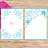 Set of floral blue cards in vintage style. Royalty Free Stock Photography