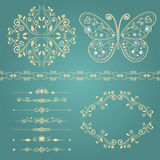 Set of floral border, frame, dividers. Royalty Free Stock Photography