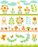 Set of floral border Royalty Free Stock Photos