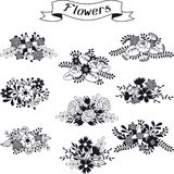 Set of floral bouquets various flowers in retro Royalty Free Stock Photo