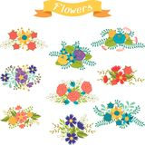 Set of floral bouquets various flowers in retro Stock Images