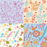 Set of floral  bright seamless patterns Royalty Free Stock Image