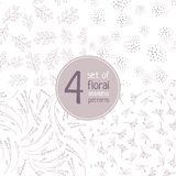 Set of 4 floral brown seamless patterns on white background Royalty Free Stock Image